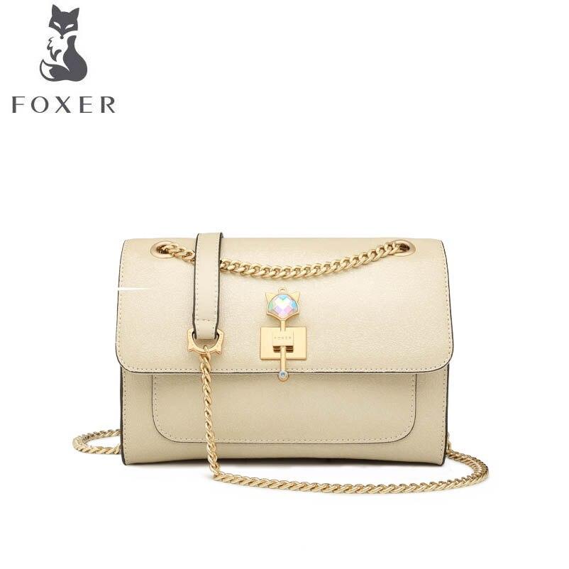 все цены на FOXER brand handbag Fairy Crossbody Bag Autumn and winter chain shoulder bag 2018 new leather small square bag fashion handbag онлайн