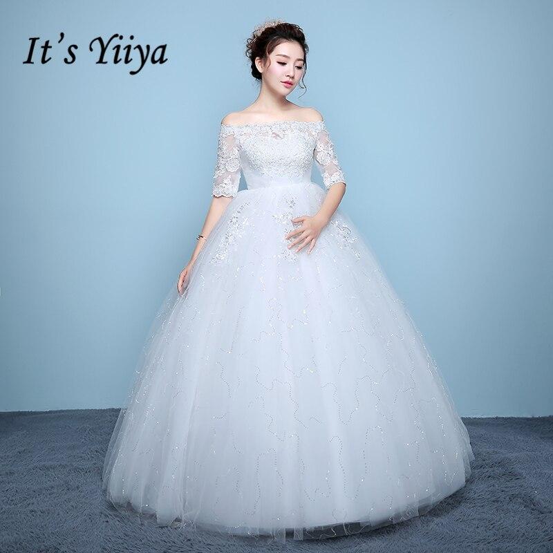 Это YiiYa Off White продаж Лодка шеи Половина рукава Свадебные платья вышивка кружевное платье с цветочным рисунком узор для беременных Mariage Vestido ...