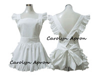 Plain White Apron Japanese Style Elegant White Ruffle Short Cotton Apron Corss Back Harajuku Soft Sister