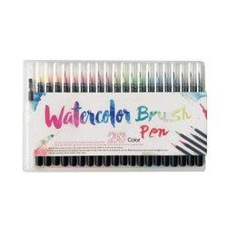 20 cores/lote conjunto profissional pintura em aquarela caneta escova macia conjunto marcadores caneta artista suprimentos manga caligrafia cômica
