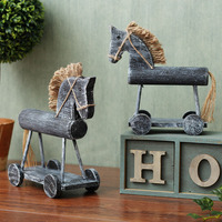 Retro Wooden Hobby Horse Model Handmade Wood Rocking Horse Miniature Carpentry Ornament Decor Gift Craft Accessories Furnishing