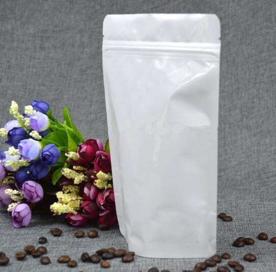 50 pcs Stand up Saco Ziplock Da Folha de Alumínio Doypack Branco Brilhante Branco Grãos de Café Saco de Embalagem Fidget Girador Bolsa