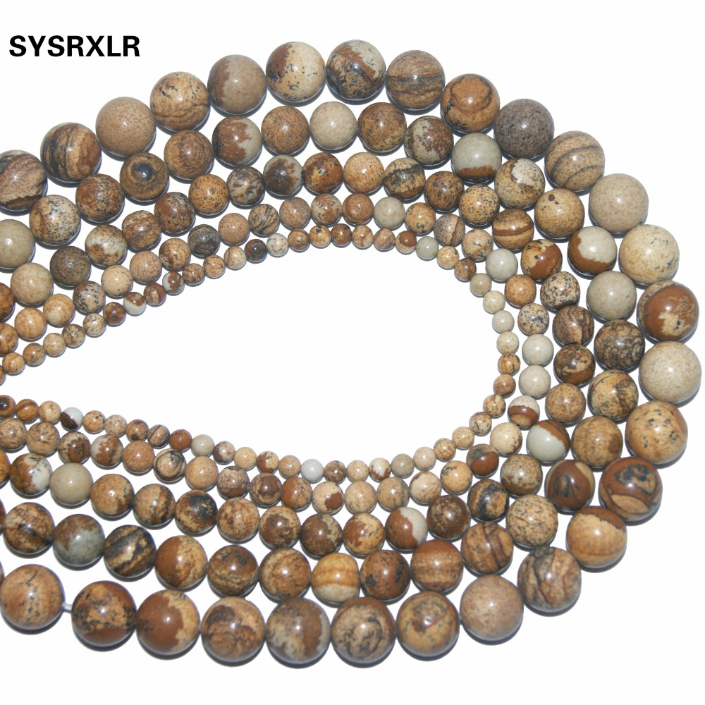 Free Shipping Natural Stone Picture Jaspers Round Beads For Jewelry Making DIY Bracelet Necklace 4 6 8 10 12 MM Strand 15 39 39 in Beads from Jewelry amp Accessories