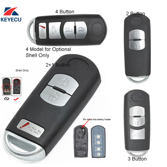 Us 8 91 10 Off Aliexpress Com Buy Keyecu Replacement Remote Car Key Shell Case Fob For Mazda 3 5 6 Cx 5 Cx 7 Cx 9 Rx8 Miata Mx5 Shell Only From