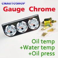 Chrome Auto Gauge Holder 3 In 1 Kit Oil Temp Water Temperature Oil Press Triple Car