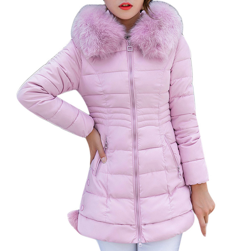 Women Hooded Outwear Warm Coat Long Thick Fur Collar Cotton   Parka   Slim Jacket 2018 New Arrival free shipping ot8