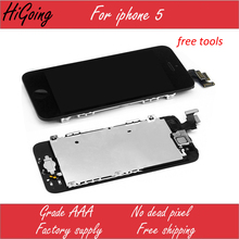 LCD Digitizer For iPhone 5 Touch Screen Display Assembly with Home Button Front Camera Flex Cable Full Replacement For iPhone 5