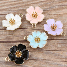10pcs/lot Hibiscus mutabilis Beautiful flower pendant alloy enamel Charm DIY accessories of necklace bracelet headdress(China)