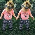 2017 Nova baby girl roupas de verão curto-manga comprida T-shirt + calças 2/pcs Infantil do bebê conjunto roupa menino roupas recém-nascidos da criança