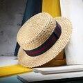 2017 Nuevo Verano Paja Natural Sombrero Para El Sol Para Las Mujeres Hombres Moda Playa Sombreros de Las Señoras Plana Sombrero De Vacaciones