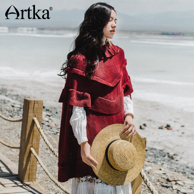 Artka пуловер женский свитер осень 2018 корейский Пончо теплый свитер Для женщин Винтаж плащ шерстяной джемпер длинный пуловер WB10374Q
