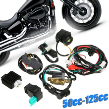 For 50cc-125cc PIT Quad Dirt Bike ATV Dune Buggy CDI Wiring Harness Loom Solenoid Coil Rectifier Full Wiring Harness Ignition tdpro 285mm 11shock absorber rear suspension for motorcycle pit dirt pocket bike atv quad buggy