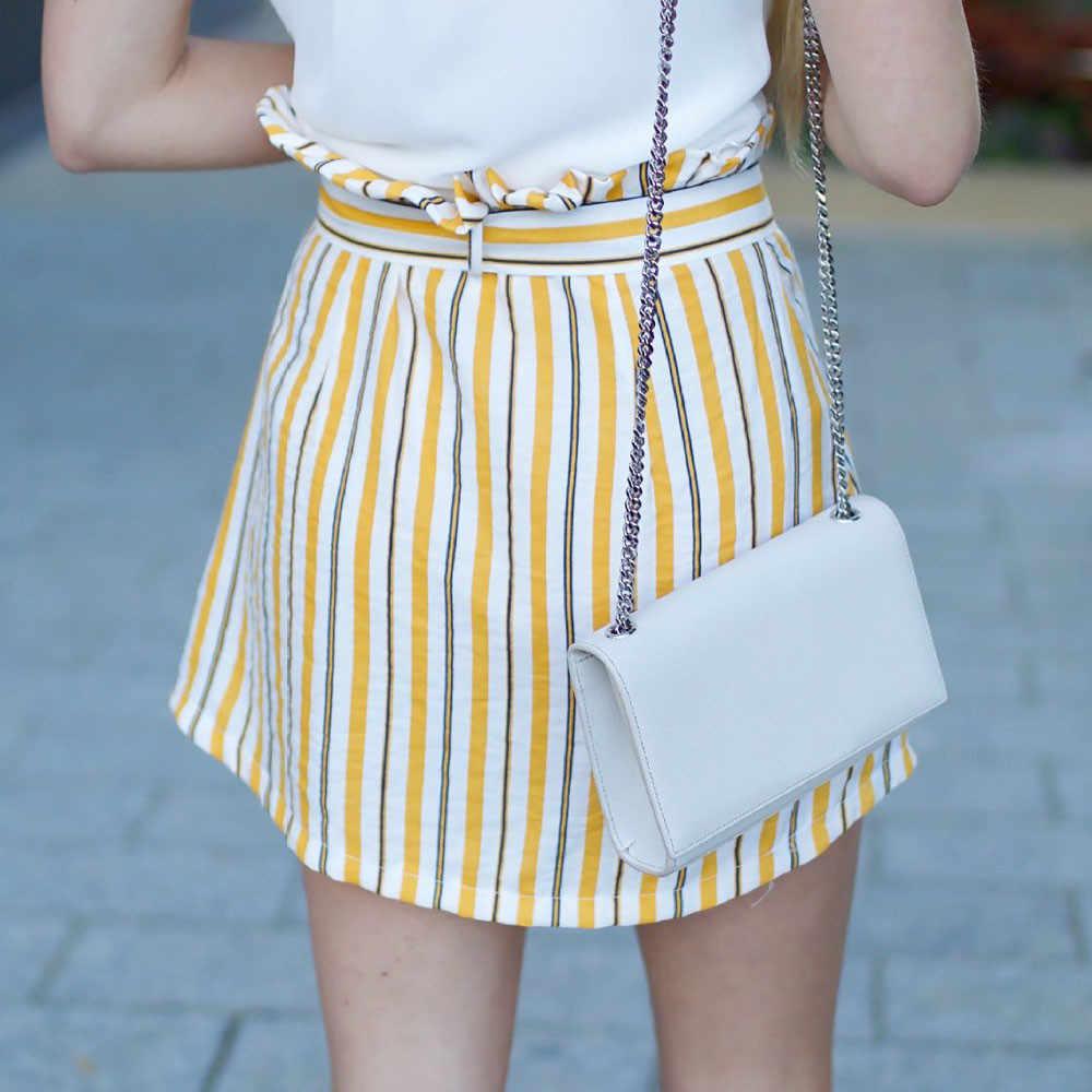 6e00eb9b7b7a ... Girl Mini Skirt Button High Waist Short Striped Kawaii Yellow Skirt  Korean Style Summer Skirts Women ...