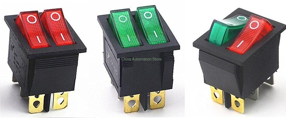 KCD2 Double Boat Rocker Switch 6 Pin On-Off With Green Red Light 20A 125VAC 250vac 15a 125vac 20a 4 pin 2 position dpst on off snap in rocker switch kcd2 201n