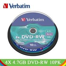 Dvd-диски Verbatim DVD-RW 4,7 GB 4x Bluray фирменные перезаписываемые для медиа-дисков DVD Lotes пустые CD Диски для медиа-дисков