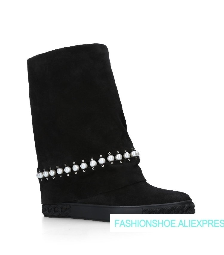 2018 Hot Autumn Winter Shoes Woman Height Increasing 8CM Wedge Boots Cow Suede Brand Woman Pearls Mid-Calf Boots Zapatos Mujer цена