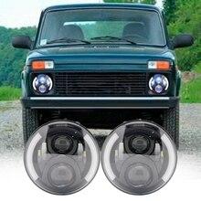 2X7 дюймов круглый светодиодный фары проецирования фар комплект для Jeep Wrangler JK TJ LJ Лада Нива 4×4 suzuki samurai Hummer H1 H2