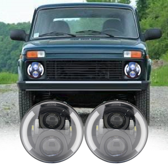 2X 7 Inch Round LED Headlights Projection Headlight Kit for Jeep Wrangler JK TJ LJ lada niva 4x4 suzuki samurai Hummer H1 H2