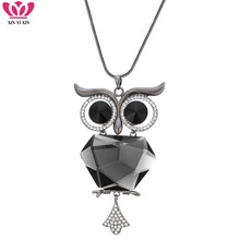 2018 Big Crystal Owl Pendant Necklace Flower Back Long Chains Animal Sweater Collier Femmes Dropshipping Jewelrly Gifts For Her