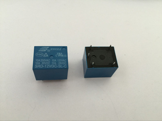 50PCS Relay SRD 12VDC SL C 12V 10A 5P T73 Power relay One on one off