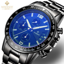 Sport Watches For Men Creative Quartz Wristwatch Top Brand Black Stainless Steel Band Luminous Analog Display Clock Erkek Saat