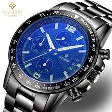 Sport Watches For Men Creative Quartz Wristwatch Top Brand Black Stainless Steel Band Luminous Analog Display Clock Erkek Saat