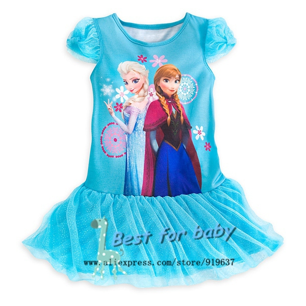 In stock Frozen Girl Nightgown Elsa&Anna Princess Dress Fit 4 13 age ...