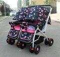Gemelo del cochecito de bebé de dos vías amortiguadores portátil puede sentarse reclinado cochecito cochecito de bebé plegable bb dobles