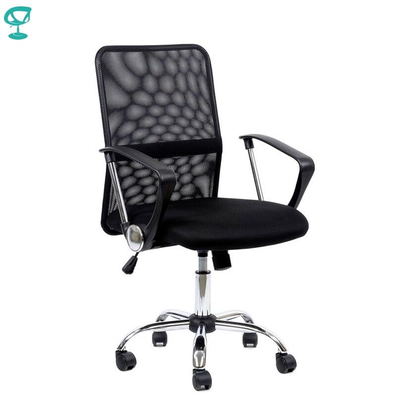 95174 chaise de bureau noire Barneo K-147 tissu et maille dossier haut accoudoirs en plastique avec rouleau de levage à gaz livraison gratuite en russie