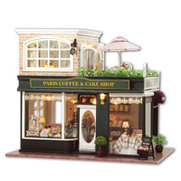 Wood Dollhouse Furniture Kit Miniature Cake Coffee Shop Craft Model DIY Doll House With LED Lights