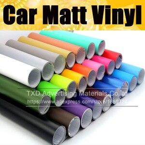 Image 1 - Матовая виниловая пленка для автомобиля, матовая виниловая Автомобильная наклейка 13 цветов на выбор, черная, красная, серебристая, розовая матовая виниловая пленка, бесплатная доставка