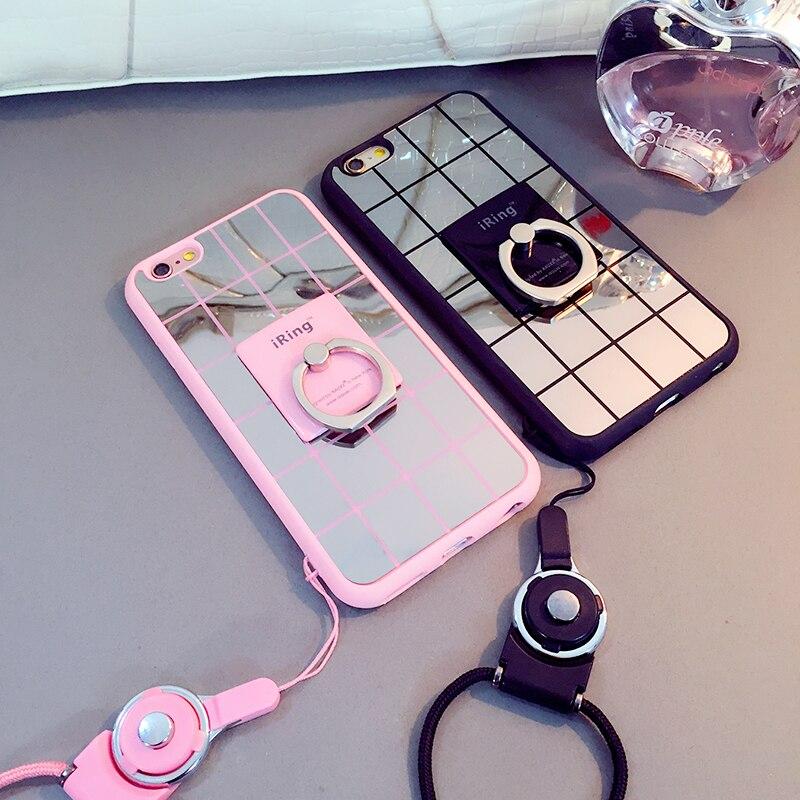 XINHU Pour iPhone 6 plus cas support téléphone cas miroir Béquille téléphone shell pour apple iphone 7 7 plus 6 6 s 8 8 plus de luxe couverture