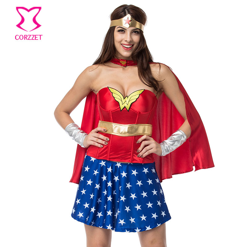 Red/<font><b>Blue</b></font> Superwoman <font><b>Halloween</b></font> Carnaval Corset Dress Cosplay Wonder Woman <font><b>Costume</b></font> <font><b>Sexy</b></font> <font><b>Costumes</b></font> <font><b>For</b></font> <font><b>Women</b></font> Deguisement Adults image