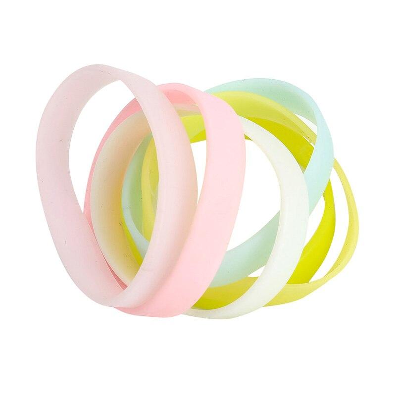 Fashion Silicone Rubber Elasticity Wristband Solid Color Luminous Wrist Band Bracelets For Women Men Accessories