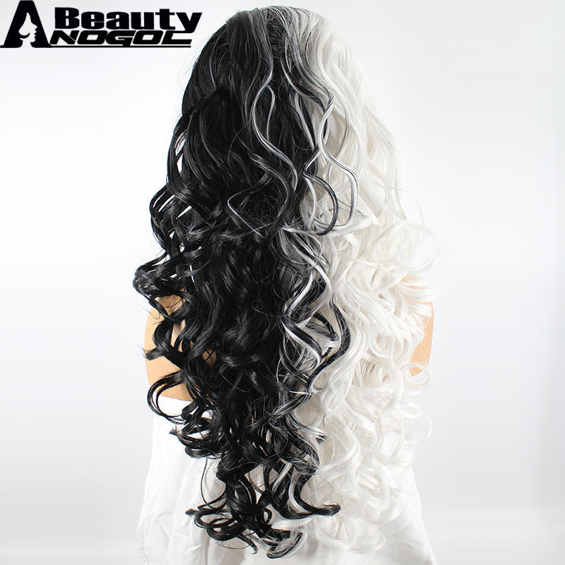 ANOGOL BEAUTY High Temperature Fiber Peruca Cabelo Long Body Wave Half White And Black Synthetic Lace Front Wig With Widow Peak