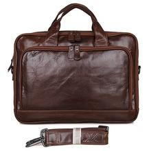 купить Men's Genuine Leather Retro Design Business Briefcase Notebook Fashion Briefcase Computer File Case Handbag Messenger Bag дешево