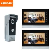 "7 ""video de la puerta de intercomunicación teléfono timbre kits de panel de aleación de aluminio con conexión de cable de vídeo portero automático sistema de 1 IR cámara 2 LCD monitor en color"