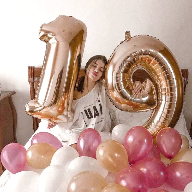 32/40inch Number Aluminum Rose Gold Silver Digit Figure Foil Balloon For Child Adult Birthday Decor 5