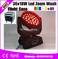 2pcs/lot flight case package effects 36x18w lyre rgbway 6 in1 rgbwauv dmx moving head led wash zoom light