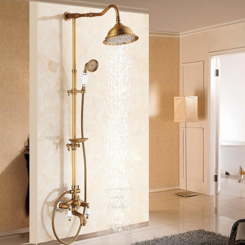 Ensemble de douche aspersé tout cuivre douche chaude et froide robinet de salle de bain douche contrôle automatique du Thermostat