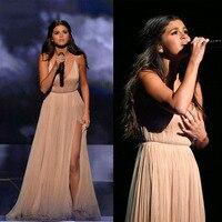 Selena Gomez Red Carpet Sexy Champagne Sheath Celebrity Prom Dresses Formal Straps Split Backless Evening Party