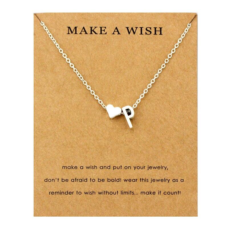 Сердце начальные Подвески ожерелье s персонализированное ожерелье с буквами Имя ювелирные изделия для женщин мужчин аксессуары подруги любовника пара подарок - Окраска металла: NE1670
