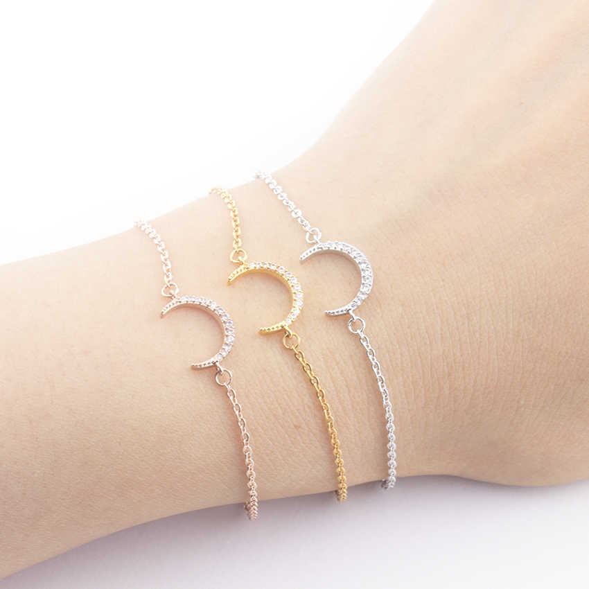 Women CZ Crystal Crescent Moon Pendant Bracelet Charms Gold Chain Half Moon Best Friend Bracelet Femme Gift Vintage Body Jewelry
