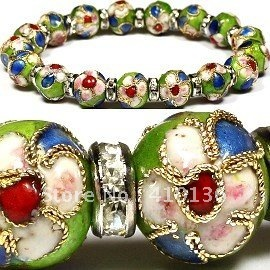 Sbr139 Clic Cloisonne Bracelet 10mm Beads Fresh Colors Mix Clear Crystal Wheel Order Free