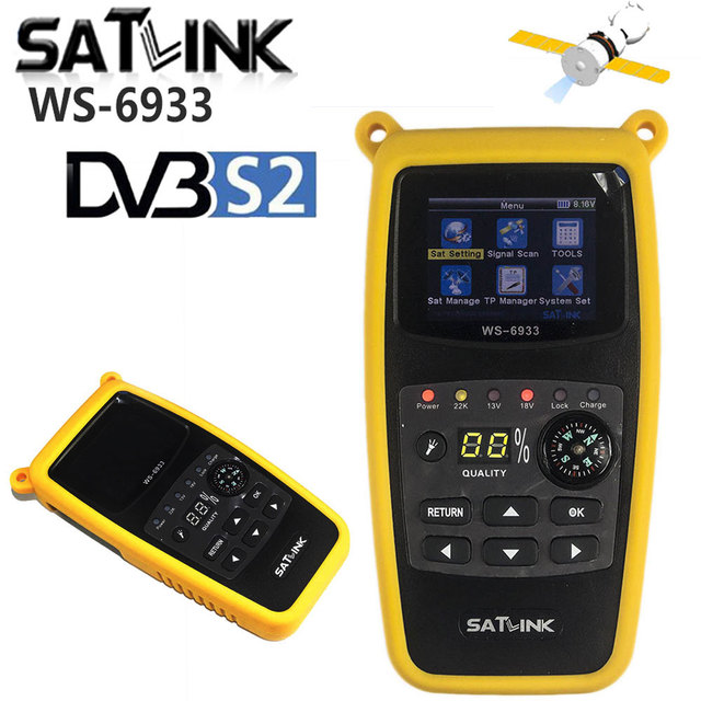 Ban Đầu Satlink WS 6933 Kỹ Thuật Số Vệ Tinh Tìm Ngồi Đo DVB S2 Satfinder Màn Hình LCD 2.1 Inch FTA C & Ku WS 6933 WS6933 DVB S2