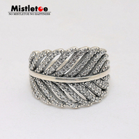 Genuine 925 Sterling Silver Light As A Feather Clear CZ Ring Compatible With Pandora Ring Original