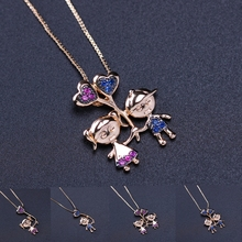 Lovely Girl Boy Pendant Charm Necklace Cubic Zirconia Family Love Little Heart Mom Necklace for Mother Gift Fashion Jewelry