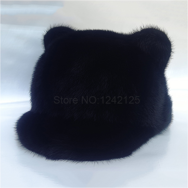New Autumn winter female women real mink hats windproof warm cute luxurious cat ear Mink fur genuine fur basin hats Baseball Cap hm039 real genuine mink hat winter russian men s warm caps whole piece mink fur hats