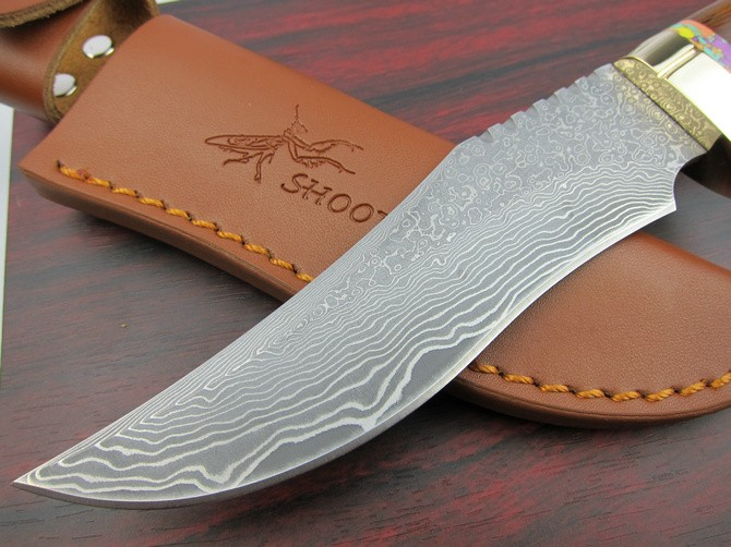 Buy Shootey M2 Damascus Fixed Knives,Rosewood Handle Camping Survival Knife,Hunting Knife. cheap