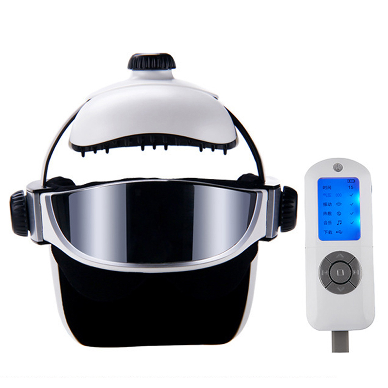 Automatic Electric Heating Eye Head Massage Helmet Air Pressure Vibration Therapy Massager Music Muscle Stimulator Health